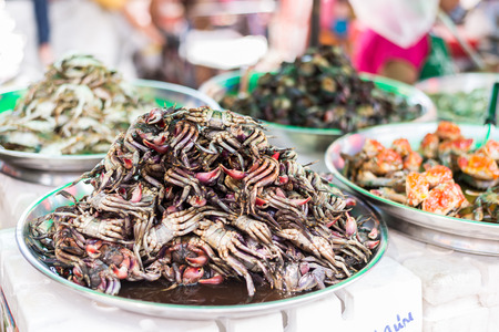 fish sauce: Raw crab with fish sauce of stree food in area of Yaowarat or Thailands China Town