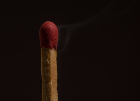 almost: Conceptaual of one matchstick that almost fire. Stock Photo