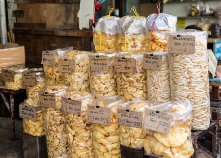 Bangkok, Thailand - July 15, 2015 Variety of dried fishs stomach for sell in area of Yaowarat or Thailands China Town Editorial