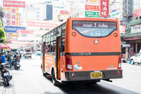 mini bus: Bangkok, Thailand - July 15, 2015 Mini bus number 1 is waiting passengers in  area of Yaowarat or Thailands China Town