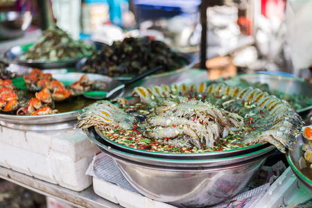 marinate: Marinate raw mantis shimps for sell in area of Yaowarat or Chinatown of Thailand.