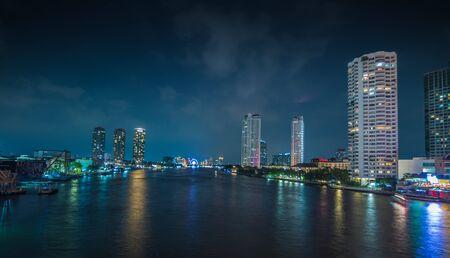 horizental: Bangkok, Thailand Apr 6, 2015 Landscape before rain at Sathorn bridge over Chao Phraya River