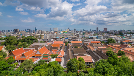 land scape: Bangkok, Thailand - Aug 10, 2015 Land scape of temple and city. View from the top of The Golden Mount.