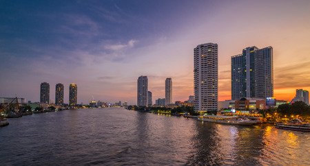 horizental: Bangkok, Thailand Apr 6, 2015 Landscape at Sathorn bridge over Chao Phraya River