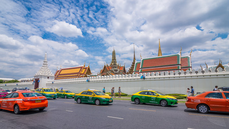 Bangkok, Thailand - Aug 10, 2015 Street with many taxi for tourist in front of The Grand Palace