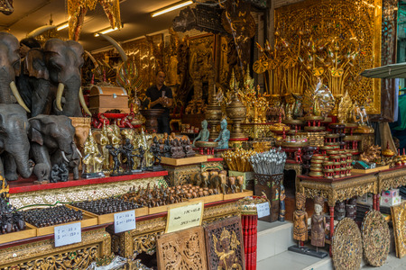 Bangkok, Thailand - Nov 14, 2015 Wood decoration item in Thailand tradition art for sell at Chatuchak, the biggest weekend market in South East Asia.