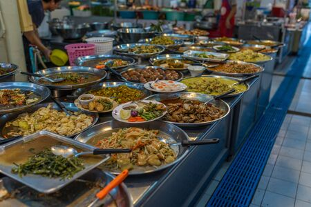 Bangkok, Thailand - Nov 14, 2015 Thai food at Or Tor Kor market, a well known place for fresh food, fruits and foods. Located next to Jatujak market. Editoriali
