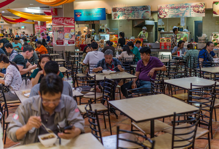 Bangkok, Thailand - Nov 14, 2015 Unidentified people in food court  of JJ Mall which located next to Chatuchak market.
