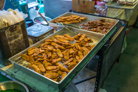 Bangkok, Thailand - Nov 14, 2015 Fried banana for sell on street of Chatuchak, the biggest weekend market in South East Asia. Editorial