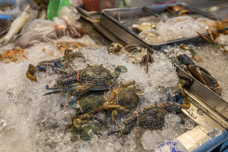 Bangkok, Thailand - Nov 14, 2015 Crab for sell at Or Tor Kor market, a well known place for fresh food, fruits and foods. Located next to Jatujak market.