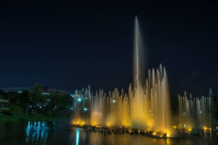 horizental: Bangkok, Thailand Nov 22, 2015 Night at Queen Sirikit Park, the botanical garden in Chatuchak district, Bangkok, Thailand. Covering an area of 0.22 km², it is part of the larger Chatuchak Park complex.