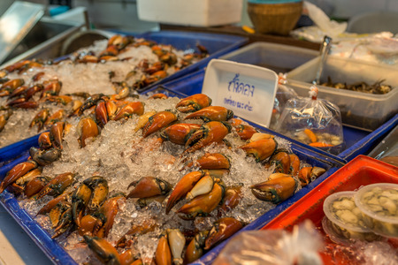 Bangkok, Thailand - Nov 14, 2015 Crab claw  for sell at Or Tor Kor market, a well known place for fresh food, fruits and foods. Located next to Jatujak market.