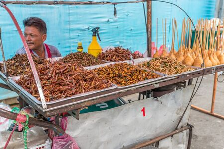 Bangkok, Thailand - Nov 14, 2015 Unidentified man is selling fried insects as snack at Chatuchak, the biggest weekend market in South East Asia. Editorial