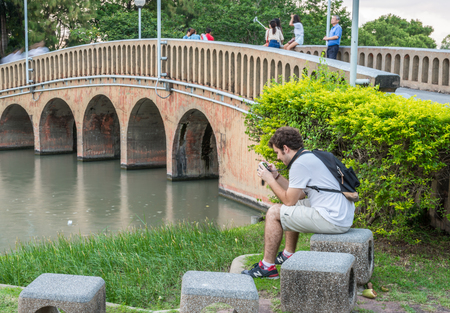 horizental: Bangkok, Thailand Nov 22, 2015 Unidentified tourist at Chatuchak Park, the public park in Chatuchak district, It is also the name of the Bangkok Metro station that lies under the park. Editorial