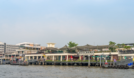 horizental: Bangkok, Thailand Dec 14, 2015 Tha Maharaj, pier and new shopping area for tourisr which located near The Grand Palace