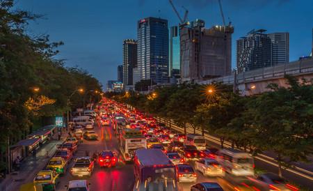 Bangkok, Thailand - Jun 25, 2016 Traffic jam in rush evening hour in Chatuchak area Stock Photo