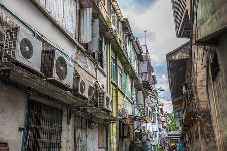 Bangkok, Thailand - Sep 4, 2016 Old building in inner city near Yaowarat or China town