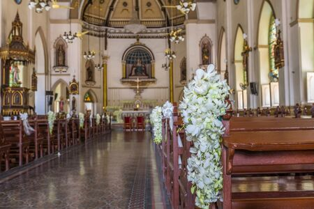 Bangkok, Thailand - Sep 4, 2016 The Holy Rosary Church, also known as Kalawar, is a Roman Catholic church in Bangkok. It is located in Samphanthawong District, on the eastern bank of the Chao Phraya River. Editorial