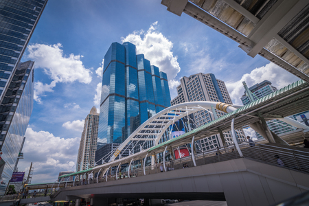 Bangkok, Thailand - Sep 27, 2016 Unique architecture symbol and tall business building in Sathon downtown area Editorial