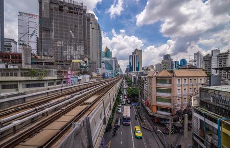Bangkok, Thailand - Sep 27, 2016 Rail of bts or sky train over downtown or sky train over downtown
