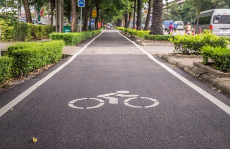 Bangkok, Thailand - Oct 5, 2016 The renovated bike lane which along Ram Indra expressway, more safty and better surface than before.