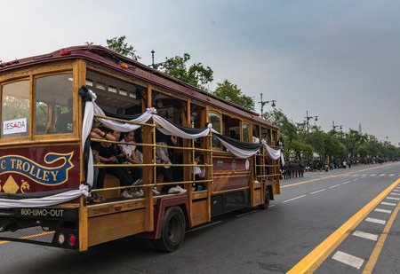 Bangkok, Thailand - Oct 18, 2016 Special service for people who come for recpect the dead king in front of Wat Phra Kaew and the Grand Palace