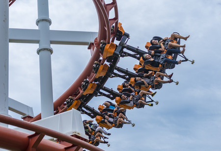 Pathumthani, Thailand - June 18 , 2017: Tourists and Sky Coaster at Dream World Theme Park.