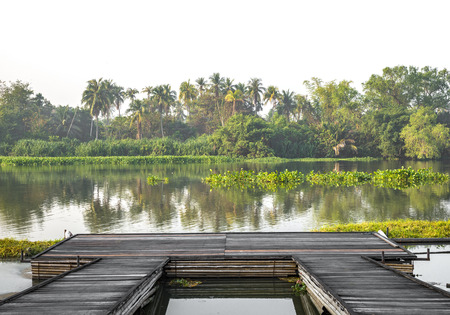 Isolated wooden small pier at riverside with tropical tree. White background or white sky.