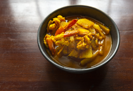 Yellow Curry is a traditional curry Southern of Thailand. Good for health because its herbs. The taste is spicy and sour. Usually cook with shirmp or fish young papaya.
