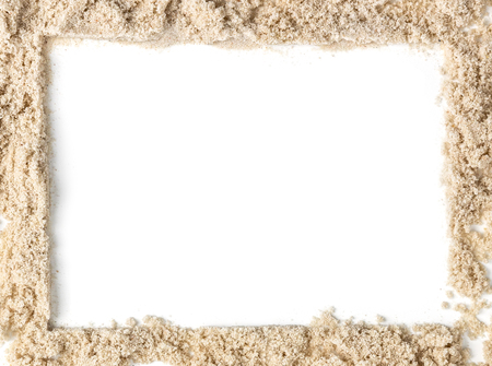 Isolated sand beach on white background with white square blank space in the center for summer concept. Stock fotó