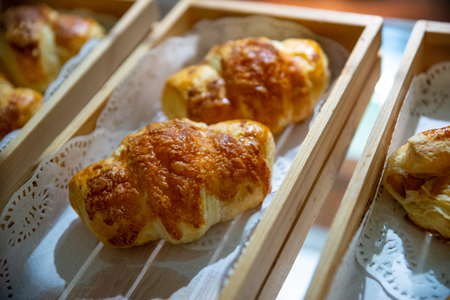 Close up croissant on shelf in store Stock fotó