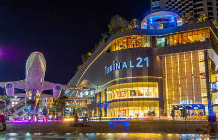 Chonburi, Pattaya, Thailand Oct 22, 2018 The new modern shopping mall Terminal 21 at night. Editorial