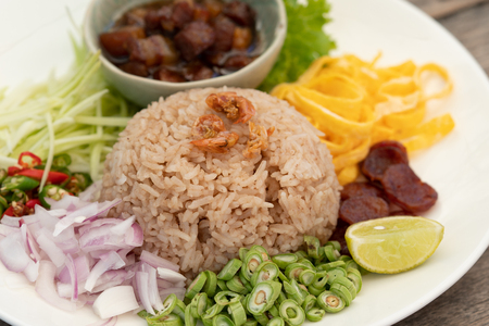 traditional Thailand food, Kaw Cook Kapee or Mixed rice with shrimp paste. Selected focus image.