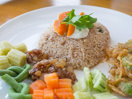 Close up Thailand food, Kaw Cook Kapee or Mixed rice with shrimp paste. Selected focus