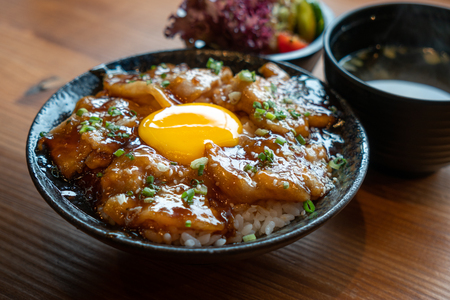 Bowl of Japanese food, grilled pork and egg over rice. Imagens