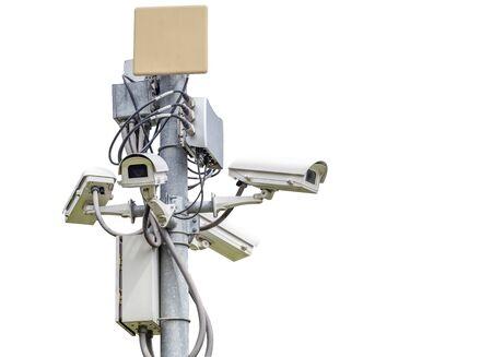 Many CCTV camera  fixed on a pole, isolated on white background Stock Photo