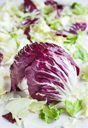 radicchio: Radicchio red salad on fresh leaves background