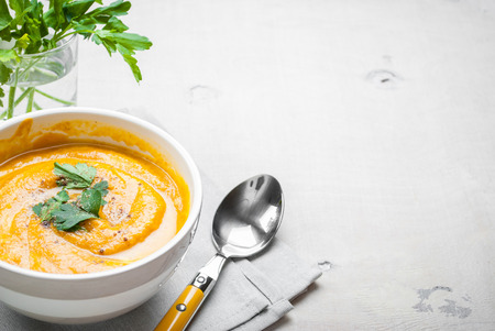 Pumpkin soup with parsley background. Free space for text Foto de archivo