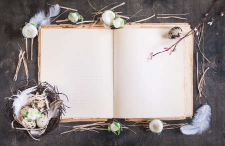 Easter eggs decoration. Eggs on rustic blank book photo