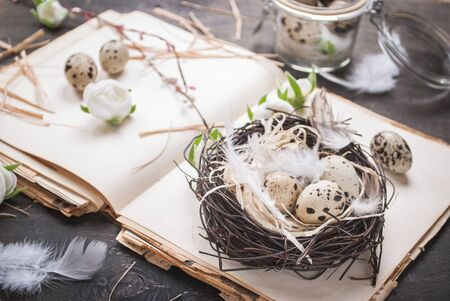 Easter eggs decoration. Eggs on rustic background photo