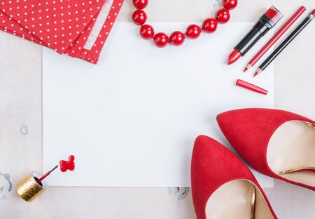 Still life of fashion woman. Feminine cosmetic background. Overhead of essentials fashion woman objects photo