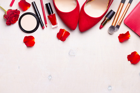 Beauty cosmetic white background. Makeup essentials. Shoes, red lipstick, powder, brushes set. Cosmetic products. Top view. Feminine or fashion background. Cosmetics. Beauty products. Modern woman Stock Photo