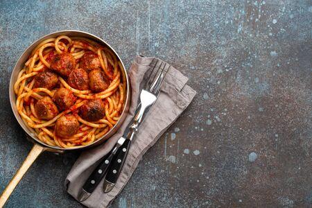 Meatballs pasta in tomato sauce