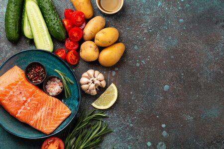 Raw salmon fillet and vegetables Stok Fotoğraf