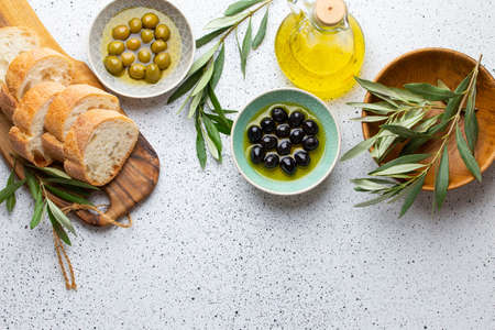 Ingredients and appetizers for Italian or mediterranean meal