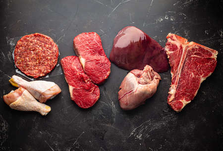 Assorted raw meat for carnivore diet