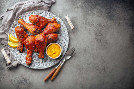 Indian food Tandoori chicken legs from above copy space
