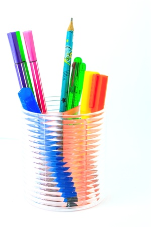 various color pen in holder photo
