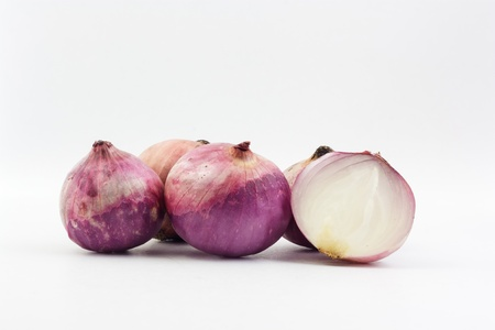 the group of Shallot on white background photo