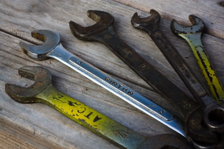 the old spanner on wood background Stock Photo - 19187129